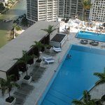 View of the pool deck from the main balcony
