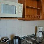 Микроволнова и шкафчики кухонного уголка