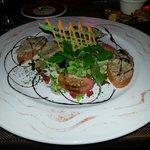 Toasts de rillette avec médaillon de foie gras