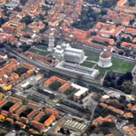 Flying over the leaning tower & baptistry.
