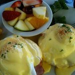 Gluten Free Eggs Benedict with Fresh Fruit