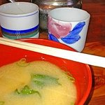 Miso soup and tea