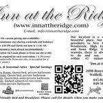 Inn At The Ridge - Business Card