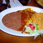 Enchilada, rice & beans