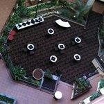 Atrium set for college graduation buffet.