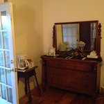 Antique furniture with in-room coffee machine, ice bucket & juice