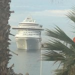 Watching a cruise ship dock (see the orange digger in the corner)