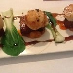 Entree -scallops with pork belly on kumera