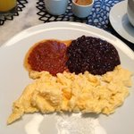 scrambled eggs. beans and salsa