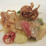 Gnocci, sea bass, tomatoes