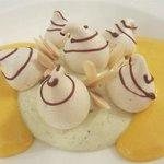 Pistachio, meringue, almonds, zabaglione sauce