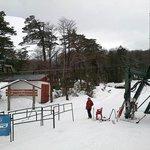the base of the ski slopes