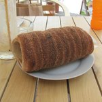 A cinnamon coated Chimney Cake