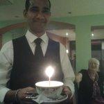 Shahim bringing my special birthday 'cake'