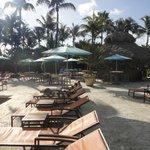 Faux beach in pool area