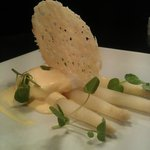 white asparagus,parmesan crisp and poacged free range egg