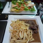 Salmon salad; beef stew and frites