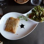 Ham and cheese in filo pastry