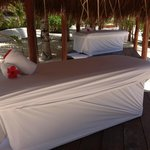 Massage table in beach palapa