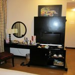 Dresser, mini bar, safe and TV