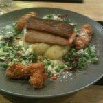salmon with scampi fritters- absolutely delicious