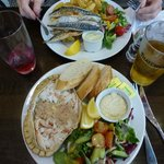 A beautiful meal of crab and mackerel for two!
