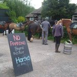 """The """"horse parking"""" at one of the pubs"""