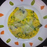 Lobster ravioli- simply love the juxtaposition of the grapes & carrots on the edge & all the col
