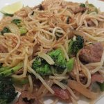 Spicy basil noodles with steak
