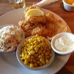 Catfish Filet with buttered corn off the cob and slaw
