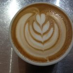 another of my enjoyable coffees at Brownz courtyard cafe with a tulip pattern