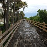 Boardwalk in front of hotel on the beach
