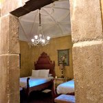 Stone work throughout the hotel is exquisite; view of our room, #5