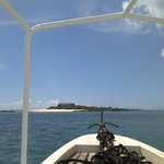 Approaching the island on boat