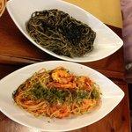 inkfish and spicy tomato shirmp pasta