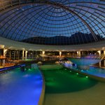Inside pools under the mobile glass dome.