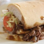 roast beef po boy sandwich with extra gravy