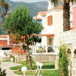 Pathways winding through the resort and gardens