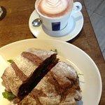 Skinny decaf mocha & hummus sandwich