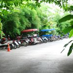 Motorcycle parking before reaching the resort reception