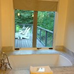 Bathroom looking over private patio