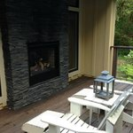 Outdoor fireplace seating area - private patio