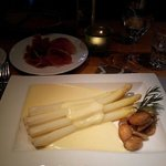 excellent white asparagus with prosciutto crudo and sauce hollandaise...a pure delight!