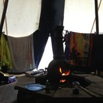 Drying out in the tipi after a rainy days cycling!