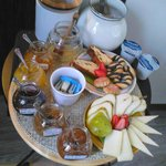 Breakfast - local cheeses and jams