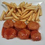 Our new appetizer buffalo bites with french fries!