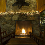 Fieldstone Fireplace in the lobby.