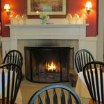 Cozy fireplace at breakfast