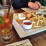 Pimm's Cup and Fish & Chips! Delish!
