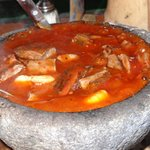 Delicious Shrimp and Beef Molcajete